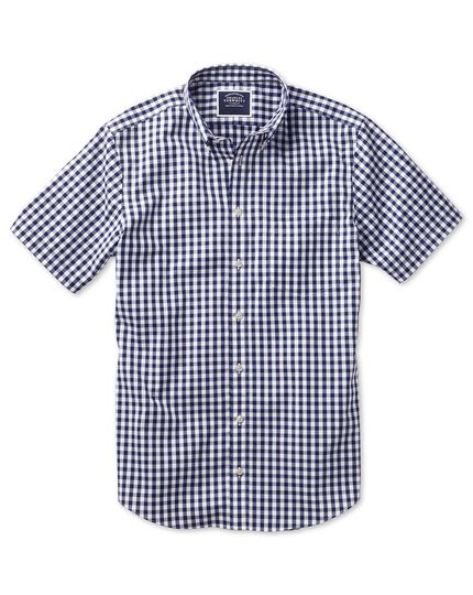 Classic fit non-iron poplin short sleeve navy check shirt