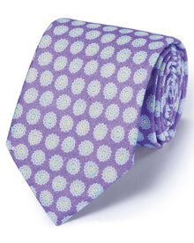 Lilac linen  English luxury floral tie