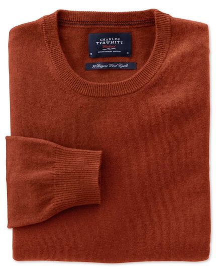 Orange cotton cashmere crew neck jumper