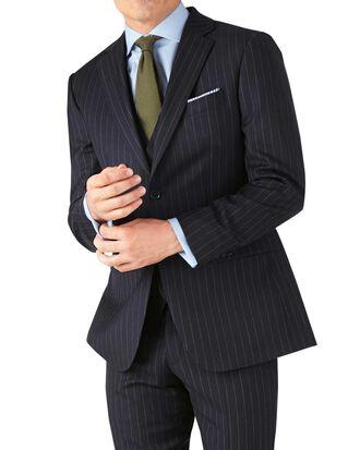 Slim Fit Business Anzug Sakko aus Twill in Marineblau mit Streifen