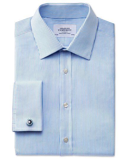 Slim fit raised stripe sky blue shirt