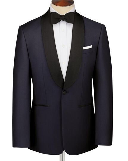 Navy slim fit shawl collar tuxedo jacket
