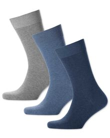 Blue multi cotton rich 3 pack socks