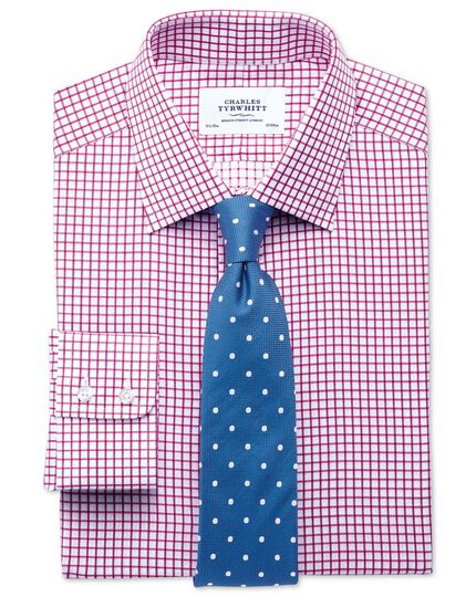 Extra slim fit twill grid check fuchsia shirt