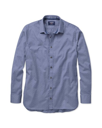 Slim fit blue dobby chambray shirt