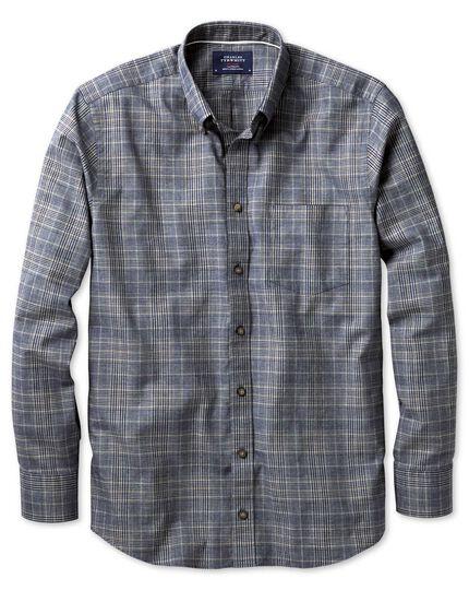 Slim Fit Hemd im Tweedlook in marineblau und braun mit Karos