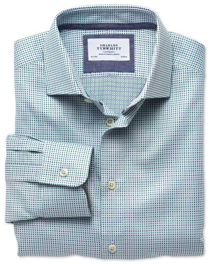 Slim fit semi-cutaway collar business casual double-faced navy and green shirt