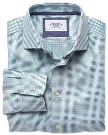 Extra slim fit semi-cutaway collar business casual double-faced navy and green shirt
