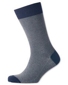 Navy herringbone socks