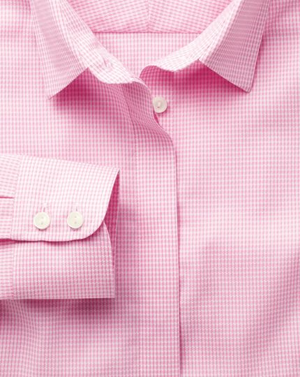 Women's semi-fitted non-iron cotton puppytooth pink shirt