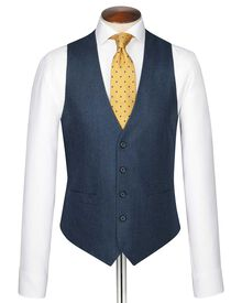 Blue twill business suit vest