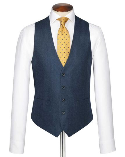 Blue adjustable fit twill business suit vest