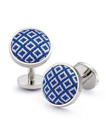 Royal blue and white silk diamond cuff links