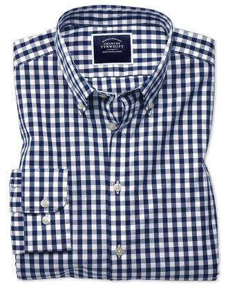 Bügelfreies Extra Slim Fit Popeline-Hemd in Marineblau mit Gingham-Karos