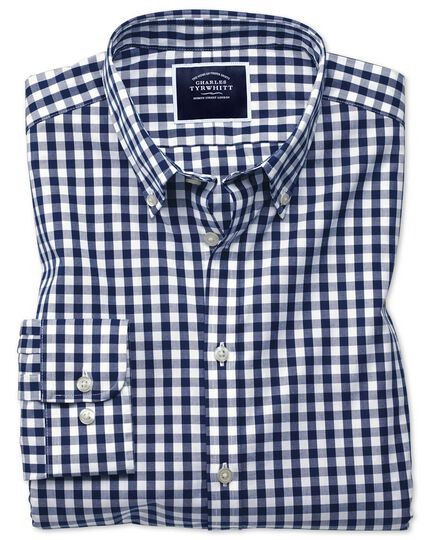 Extra slim fit button-down non-iron poplin navy blue gingham shirt