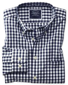 Slim fit button-down non-iron poplin navy blue gingham shirt