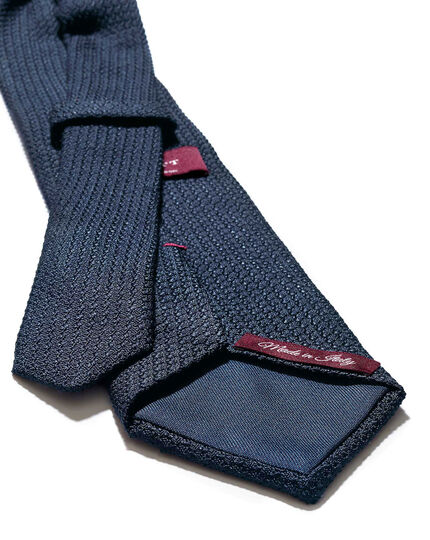 Navy silk plain grenadine italian luxury tie