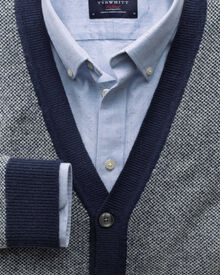 Blue jacquard cardigan