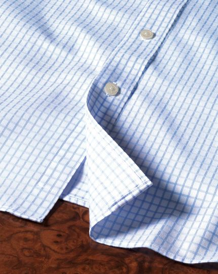 Classic fit non-iron windowpane check sky blue shirt