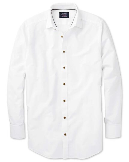 Extra slim fit spread collar white dobby textured spot shirt