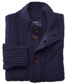 Lammwolle Zopfmuster Strickjacke in Marineblau