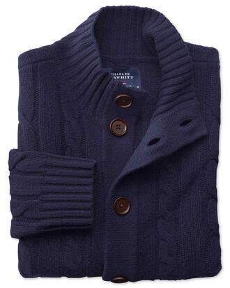 Navy lambswool cable cardigan