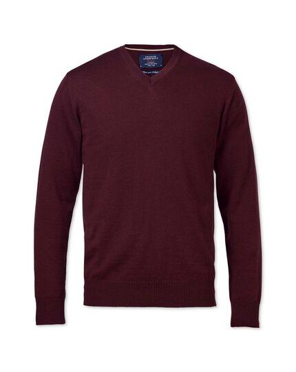 Wine merino v-neck sweater