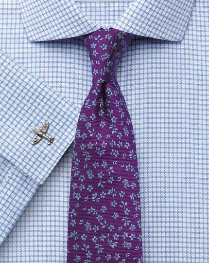 Slim fit non-iron cutaway collar basketweave check sky blue shirt