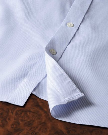 Extra slim fit semi-cutaway collar luxury stripe sky blue shirt