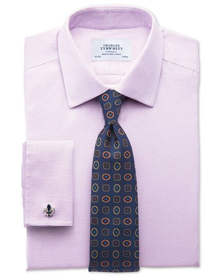 Classic fit non iron imperial weave lilac shirt