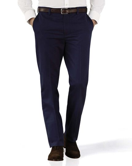Marine blue slim fit flat front non-iron chinos