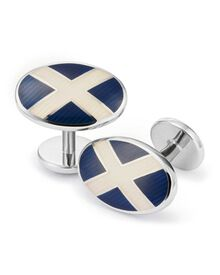 St Andrews cross enamel cuff links