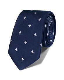 Navy and white silk classic Fleur de Lys slim tie