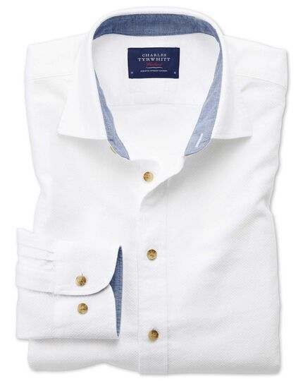 Slim fit washed textured white shirt