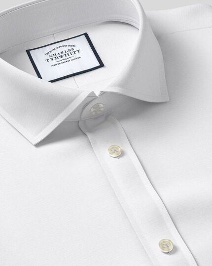 Slim fit cutaway Egyptian cotton poplin white shirt