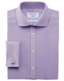 Extra slim fit non-iron spread collar basketweave check purple shirt