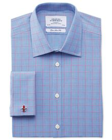 Extra slim fit Prince of Wales check pink satin shirt