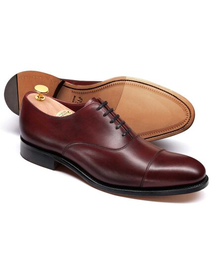 Burgundy Heathcote calf leather toe cap Oxford shoes