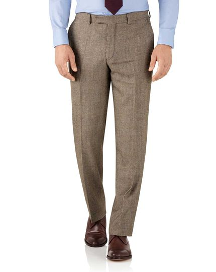 Tan check classic fit British serge luxury suit pants