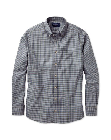 Slim fit non-iron twill grey and blue tattersall shirt