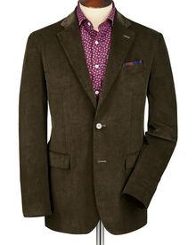 Olive slim fit cord unstructured jacket