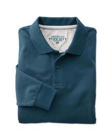 Classic fit teal pique long sleeve polo shirt