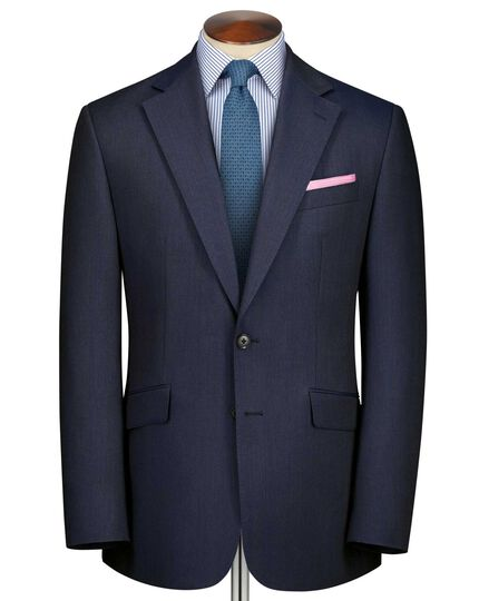 Airforce blue classic fit herringbone business suit jacket