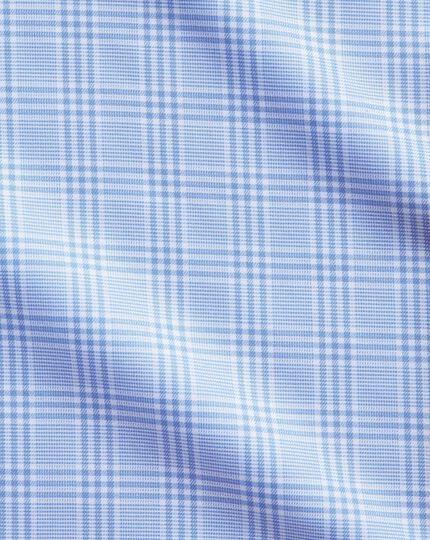 Bügelfreies Extra Slim Fit Hemd mit Haifischkragen in Himmelblau mit Prince-of-Wales-Karos