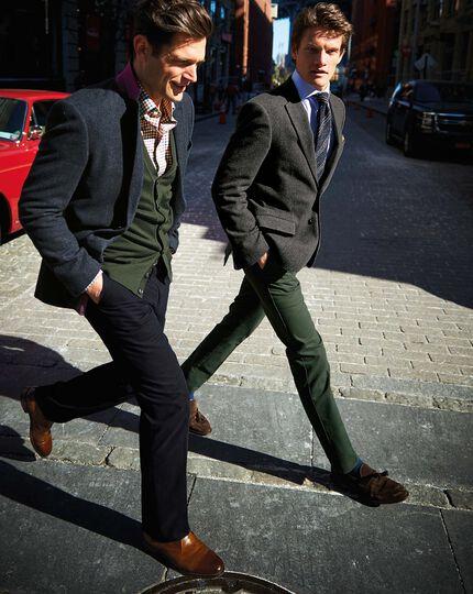 Dark navy slim fit cotton flannel trouser