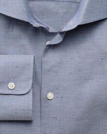 Slim fit semi-spread collar business casual herringbone fleck blue shirt
