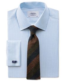 Slim fit Pima cotton double-faced sky blue shirt