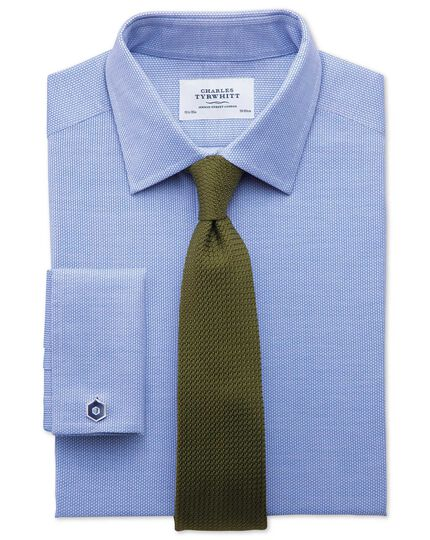 Classic fit Egyptian cotton diamond texture mid blue shirt