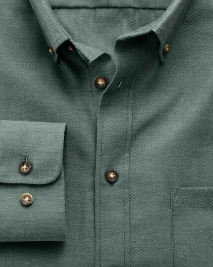 Classic fit non-iron twill forest green shirt