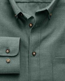 Slim fit non-iron twill forest green shirt